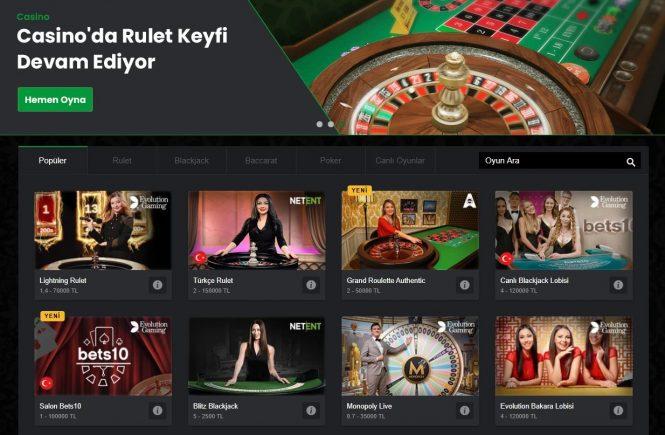 Canlı casino siteleri, online casino siteleri, casino oyunu oynama